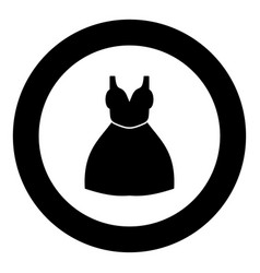 woman dress icon black color in circle vector image
