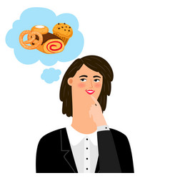 woman thinking about bakery products vector image