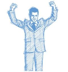 businessman hands up vector image vector image