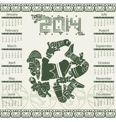 Calendar 2014 with mayan ornaments vector image vector image