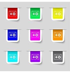 cassette sign icon Audiocassette symbol Set of vector image