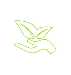 ecological icon human hand growing green leaves vector image vector image