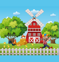 farmer working on the farm vector image vector image