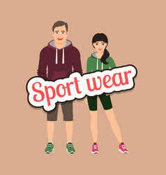 fashion couple in sport style clothing vector image vector image