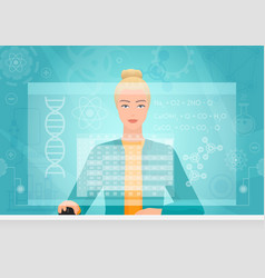 chemist genetics biology woman working using vector image