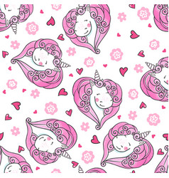 hand drawn seamless pattern with cute unicorns vector image