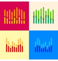 Infographics set with overlapping bars and dotted vector image vector image