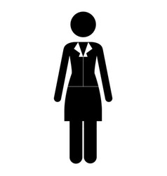 monochrome pictogram of business woman in dress vector image vector image