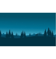 Silhouette of snowing winter town vector