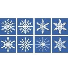 Snowflakes icons set flat style Snowflake vector image