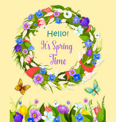 spring flowers wreath greeting card vector image vector image