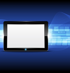 Tablet computer with technology background vector