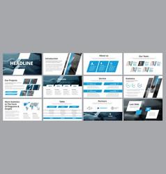 templates of white-blue slides for presentation vector image