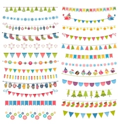 Christmas flags bunting and garlands isolated on vector image vector image