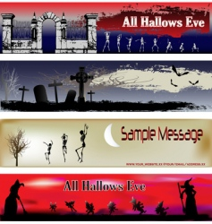 Halloween web banner templates vector image vector image