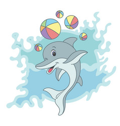 happy dolphin on blue vector image