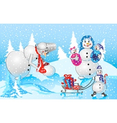 family of snowmen vector image