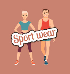 fitness fashion couple in sport wear vector image vector image
