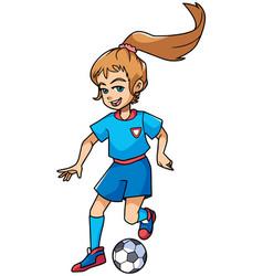 football playing girl vector image vector image