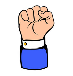 raised fist hand gesture icon icon cartoon vector image