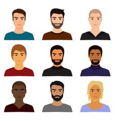 set of male man character vector image