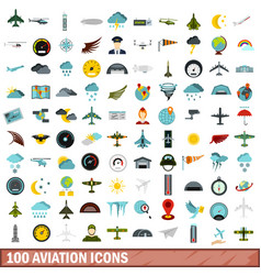 100 aviation icons set flat style vector