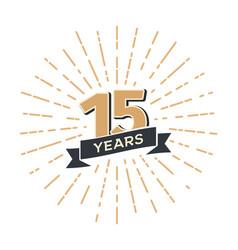15 th anniversary retro emblem isolated vector image