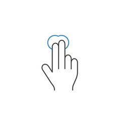 2 finger tap line icon touch and hand gestures vector image