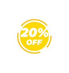 20 percent off sale label design template vector