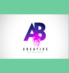 Ab a b purple letter logo design with liquid vector
