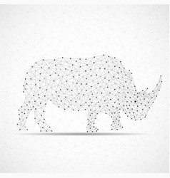 abstract polygonal wireframe rhinoceros points vector image