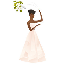 African bride tossing a bouquet of flowers vector