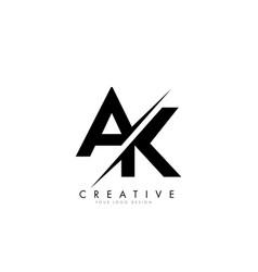 Ak a k letter logo design with a creative cut vector