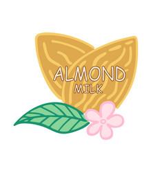 almond milk logo or label vector image