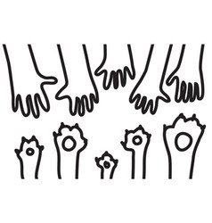 animal pets dog cats paw hand black lines symboll vector image