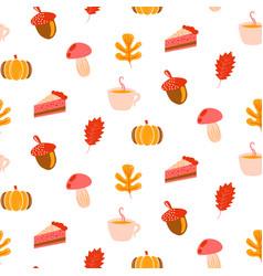 Autumn harvest objects pumpkin acorn pie vector
