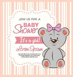Baby shower girl invitation card vector