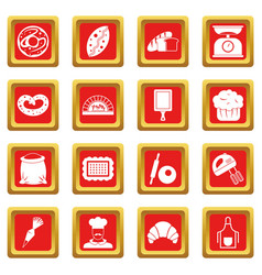 Bakery icons set red vector