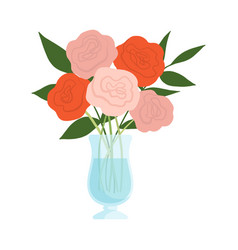 beautiful peony flowers in vase bouquet of vector image