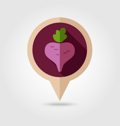 Beet flat pin map icon vegetable vector