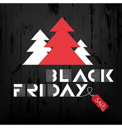 black friday wooden xmas trees and red label vector image