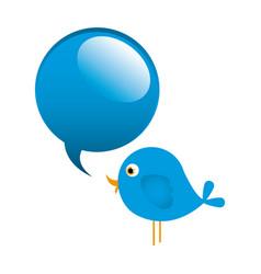 blue cute cartoon bird animal icon with dialog vector image