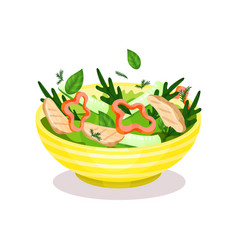 Bowl of vegetable salad with meat healthy eating vector