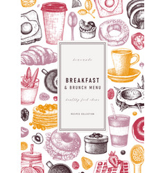 breakfast food card or invitation in color vector image