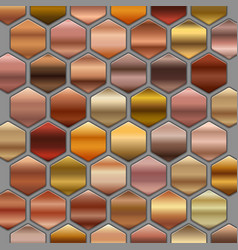 Bronze roze gold gradients set in hexagons big vector