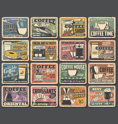 Cafe posters coffee drink cup espresso machine vector