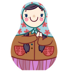 Cartoon cute matryoshka doll in floral scarf vector