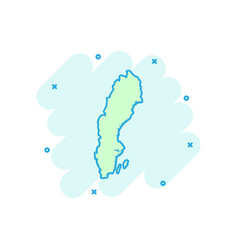 cartoon sweden map icon in comic style sweden vector image
