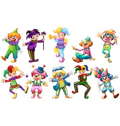 Clowns in different costumes vector
