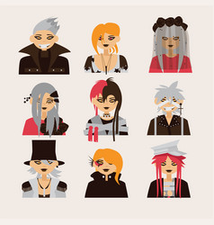 collection with lovely visual kei male vector image
